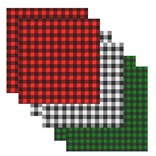 6 Sheets 12×12 Inch Christmas Buffalo Plaid Vinyl Fabric Sheets Classic Plaid Adhesive Iron on Vinyl Patches Thermal Transfer Heat Transfer Cloth Sheets (3 Colors)