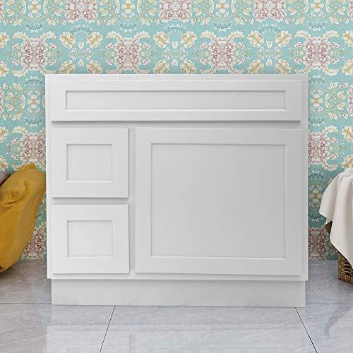 Vanity Art 36 Inches Bathroom Vanity Cabinet Solid Wood White Finish Single Shutter Door 2 Extension Drawers Undermount Sink Cabinet VA4036-2LW