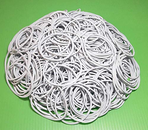 1.5' 38mm White Rubber Bands Bulk Elastic Wide Money Rubber Bands Ring Stationery Holder Sturdy Strong Stretchable Band Loop School Home Bank Office Supplies (500)