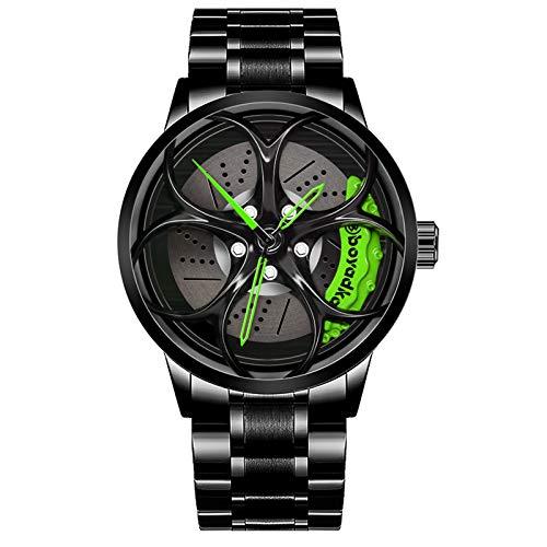 Reloj De Cubo De Llanta De Coche, Reloj Deportivo 3D para Rueda De Coche para Hombre, Reloj Deportivo Impermeable De Moda, Malla De Cuarzo para Hombre con Reloj De Cubo De Llanta (Black Green)