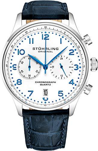 Stuhrling Original Reloj de Cuarzo con cronógrafo para Hombre, Caja de Acero Inoxidable y Correa de Piel, Esfera analógica con Fecha GR1-Q colección de Relojes para Hombre