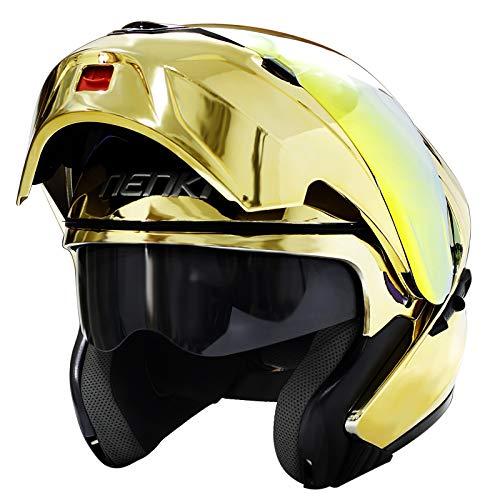 Modular Full Face Motorcycle Helmet DOT Approved by NENKI Motorbike Street Bike Flip up with Dual Visor Sun Shield for Adult, Men and Women NK-815 (L, Chrome Gold)