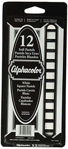 Quartet Alphacolor Soft Square Pastels, White, 12 Pastels per Set (105204)