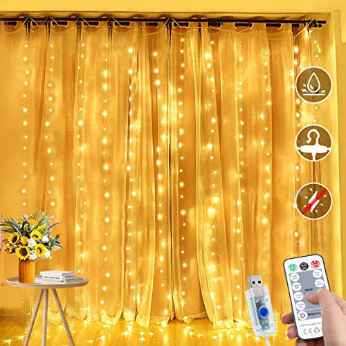 JIANNZT LED Curtain Lights, 4.5m x 1.8m 270 LED Fairy Lights with Remote 8 Modes 15 Hooks, IP65 Waterproof Window Curtain String Lights for Bedroom Outdoor Wedding Party Garden Decoration (Warm White)