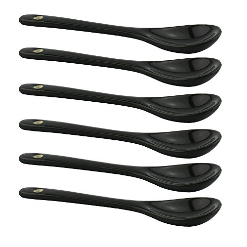 """Porcelain Bone China Spoons for Yogurt Ice-cream Appetizers and Desserts Well Fitting Coffee Mugs and Teacups 4.7"""" set of 6 Black Tea spoons"""