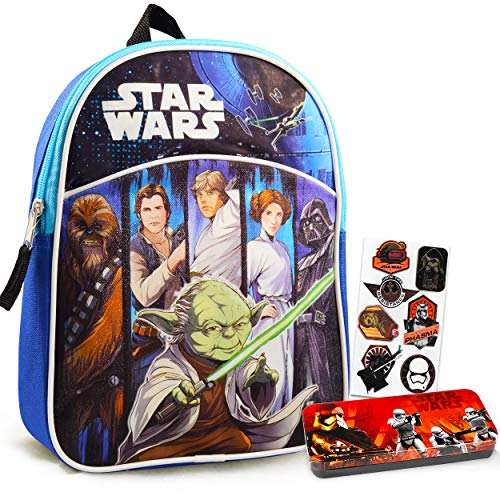 Star Wars Mini Backpack Bundle Set for Preschool Toddlers ~ Deluxe 11' Star Wars Backpack for Boys Kids with Utensil Case and Stickers (Star Wars School Supplies)
