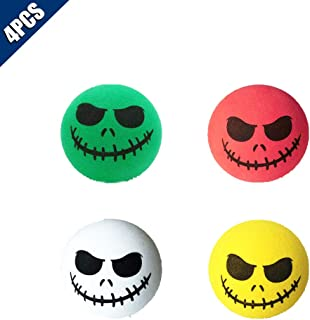 KOOBOOK 4Pcs Funny Halloween Skull Smile Car Antenna Topper Aerial Ball Car Antenna Decoration Doll