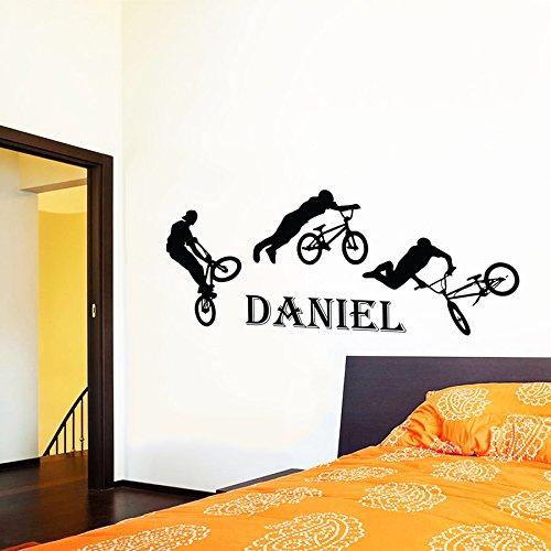 Sticker Mural Autocollant De Vinyle Stickers Art Intérieure Décor Murale Saut Vélo Cycliste Bmx Freestyle Saut Personalisée Coutume Cadeau Enfants Dortoir An326