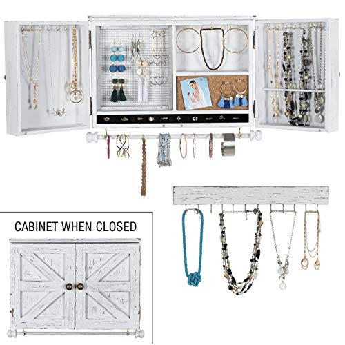 Rustic Wall Mounted Jewelry Organizer with Wooden Barndoor Decor. Jewelry holder for Necklaces, Earings, Bracelets, Ring Holder, and Accessories. Includes hook organizer for hanging jewelry (White)