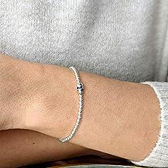Silverly Women's .925 Sterling Silver Skull Ball Beaded Charm Adjustable Stretch Bracelet #1
