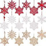 MELLIEX 18pcs Copo de Nieve de Madera, Colgantes de Madera para Navidad Adornos de Copos d...