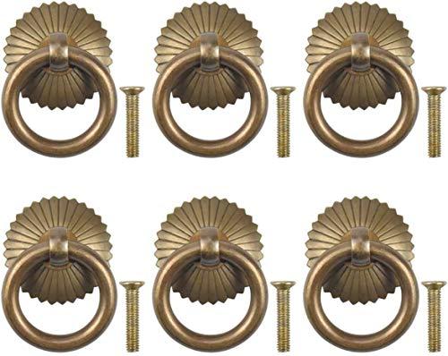 HSJ Trail TRATÓN DE Cobre Cajón Manedas y perillas Retro Agujero de un Solo Agujero Cocina Manija Redonda Latón Tirador Estilo Pull Ring Drawer SART Pulls Conveniencia (Color : Copper)