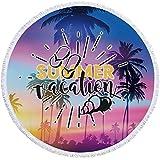 KKDS Toalla de Playa Colorido árbol de Coco mar Hawaii Imprimir Toalla de Playa de Verano para Adultos 150 cm Toallas de baño de Microfibra Manta de Lanzamiento de Viaje para Playa, decoración