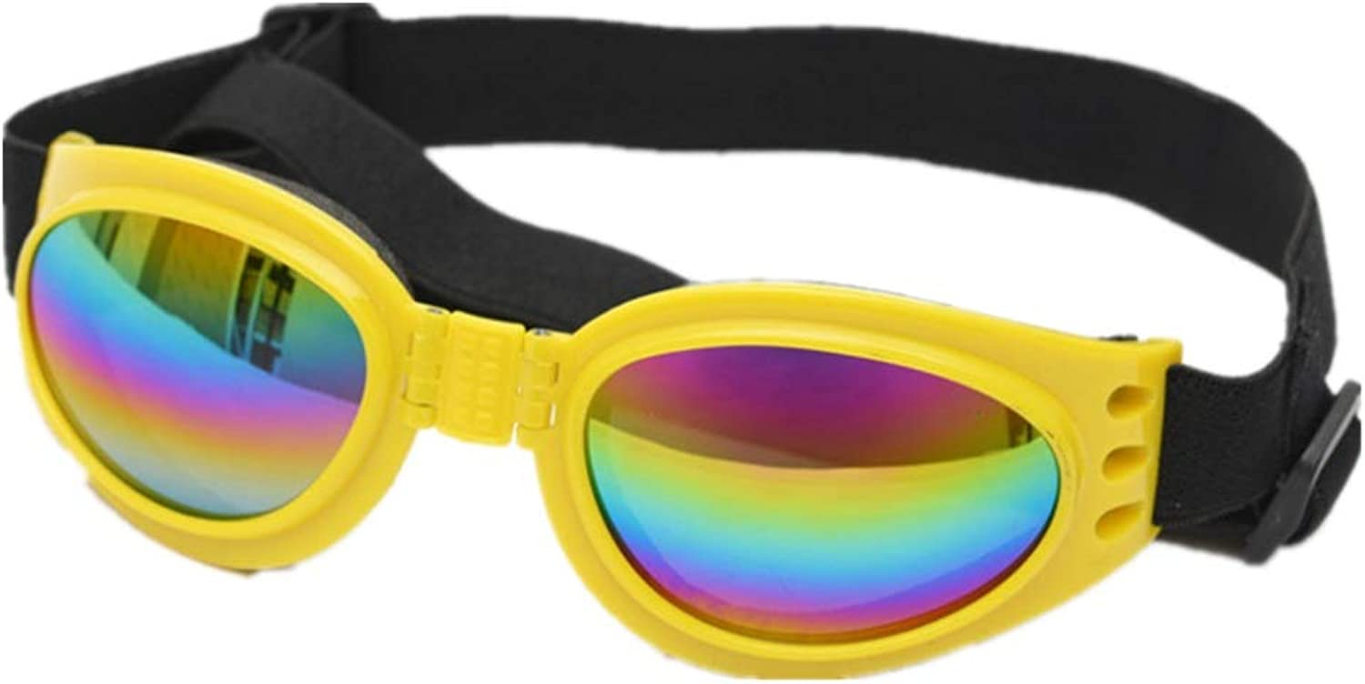 Pet Glasses Dog Sunglasses golden Retriever Samoyed Goggles Big Dog Eye Wear Predection Pink (color   Yellow)