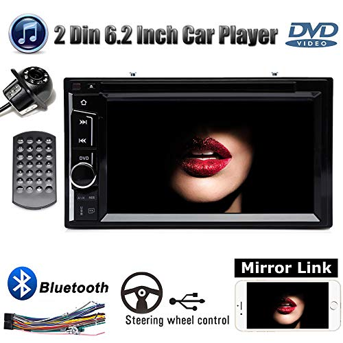 Double 2Din 6.2inch Car Stereo + Backup Cam, with DVD Player Bluetooth Mirrorlink USB Subwoofer Touchscreen AUX Input for Ford F-150 XLT Extended Cab Pickup 4-Door 2001 2002 2004 2005 2006 2007