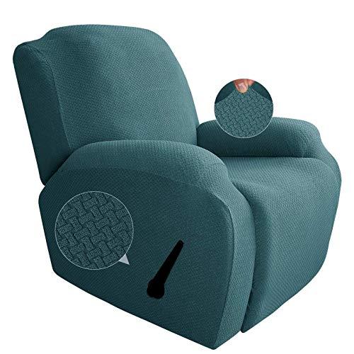 GEBIN Jacquard Sesselbezug, Sesselschoner, Stretchhusse Für Relaxsessel Komplett, Elastisch Bezug Für Fernsehsessel Liege Sessel (Peacock Blue)