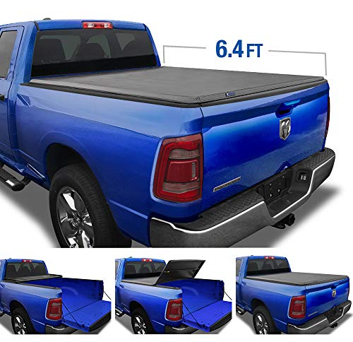 Tyger Auto TG-BC3D1045 T3 Tri-Fold Black 6.4' Bed (Soft-Top) 2019-2020 Ram 1500 New Body Style Without RamBox Multifunction Tailgate or Utility Rails Truck Tonneau Cover