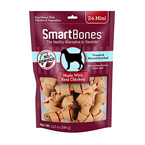 rawhides SmartBones Mini Chews With Real Chicken 24 Count, Rawhide-Free Chews For Dogs