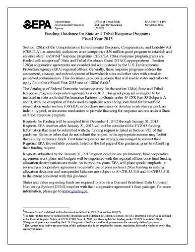 Funding Guidance for State and Tribal Response Programs Fiscal Year 2013 (English Edition)
