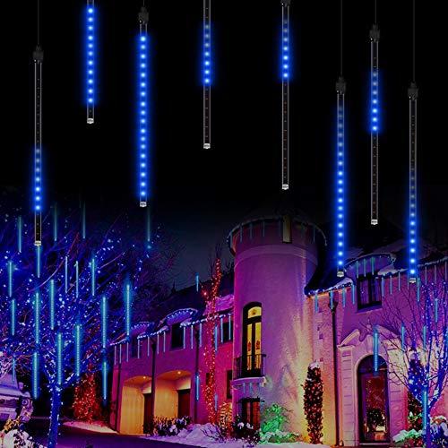 Meteor Shower Rain Lights Meteorschauer Lichterkette, 50cm 8 Tubes 288 LEDs Wasserdichte Schneefall Lichterkette für Draussen/Innenraum/Garten/Hochzeit/Party/Weihnachten Dekoration