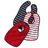wellyou Baby-Lätzchen mit Druckknopf | größenverstellbarer und strapazierfähiger Klecker-Schutz | im 3er Set | aus 100% Baumwolle | klassisch gestreift blau/weiss/rot