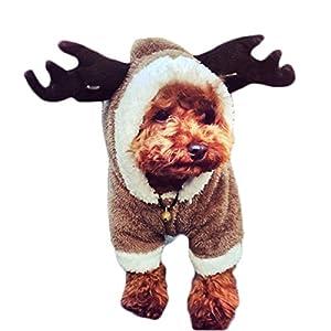 LZLU Noël Costume Manteau à Capuche de Tenue de Renne Vêtements pour Chien Chat Chiot
