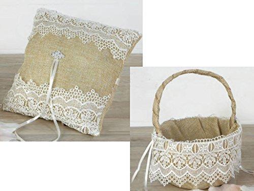Juego cojín alianzas y cesta arras o pétalos, burlap con puntilla y detalles en strass