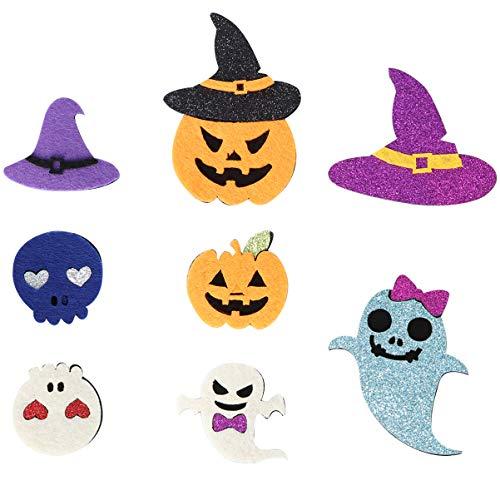 Happyyami 8 Piezas Parches de Apliques de Halloween Hierro en Apliques Glitter Coser Insignias con Mago Fantasma para DIY Vestido Planta Sombrero Jeans Fiesta de Halloween