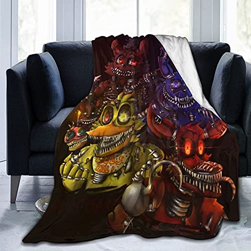 Five Nights at Fre-Ddy'S to-Y Chi-Ca Soft Blanket Fuzzy Warm Throws for Winter Bedding, Couch and Plush House Warming Gift for Adults & Kids 50'X40'