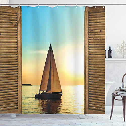 """Ambesonne Nautical Shower Curtain Sea Life Decor, Sailboat Seascape on The Ocean Scenic Ombre Colored Sunset View from Rustic Wooden Frames Print, Fabric Bathroom Set with Hooks, 70"""" Long, Brown Blue"""