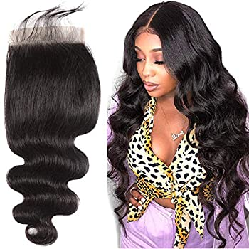 7X7 Lace Closure Brazilian Body Wave Closure 7X7 Lace Base Pre Plucked Closure Front With Baby Hair Free Part Unprocessed Virgin Human Hair Natural Color 20 inch
