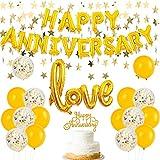 記念日デコレーション ゴールド 飾り付け 結婚式 love 風船 パーティー飾り 誕生日 おしゃれ HAPPY ANNIVERSARY お祝い 告白 バレンタイン応援 サプライズ 装飾 飾りセット