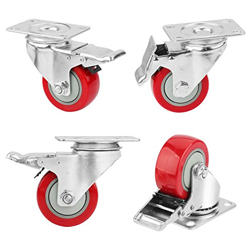 "3"" Caster Wheels, PRITEK Heavy Duty Plate Casters with 360° Swivel and Lockable Top Plate No Noise Rubber Base Ball Fit for Furniture Industrial Table Cabinet Shelves (bearing 200lb each, set of 4)"