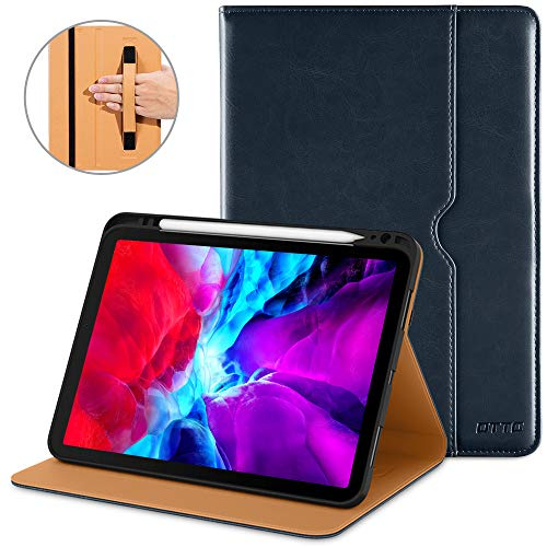 DTTO New iPad Pro 11 Case 2nd Generation 2020&2018, Premium PU Leather Business Folio Stand Cover [Apple Pencil Pair and Charge Supported] - Auto Wake/Sleep and Multiple Viewing Angles, Blue