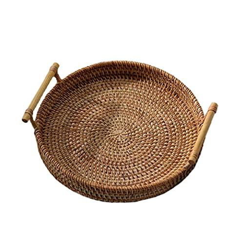 Bandeja de almacenamiento redonda de rat¨¢n tejido a mano la cesta de mimbre con asa de pan de fruta Comida El desayuno Display (24x7cm)