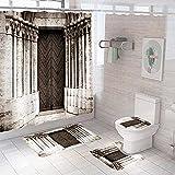 3D Gedruckter Duschvorhang 180x180 cm Graubraune Schlosstür Wasserdicht Antibakterielles Duschvorhang gesetzt Polyester rutschfest Badematte Waschmaschinenfest