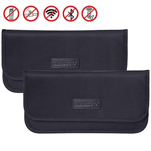 Wisdompro Faraday Borsa, confezione da 2 pezzi, con blocco del segnale RFID, custodia a portafoglio per la protezione della privacy del telefono cellulare e chiave dell'auto, colore nero