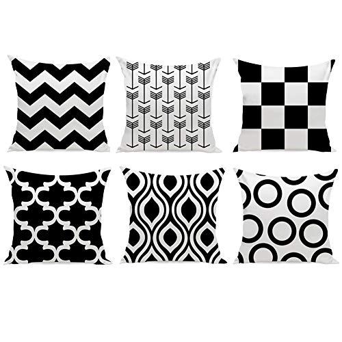 Huifengs, serie New Living, set di 4 federe, per cuscino d'arredo, da divano o da letto, motivo geometrico, colorato, 45,7x 45,7cm Black-6