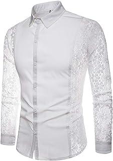 Yffksse Hombres Versaces Camisa Cordón Largo Manga Sólido Color Casual Algodón Mezcla Rechazar Collar Vestido Tops,White,L