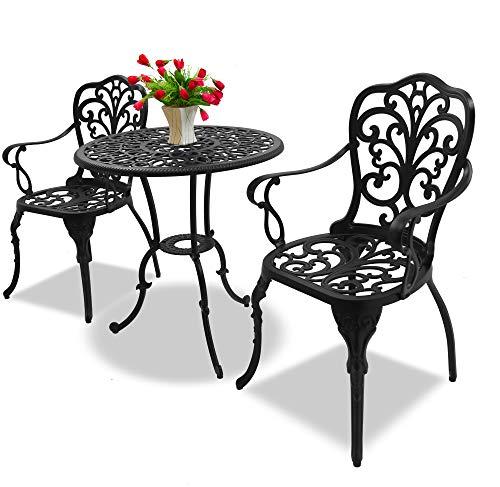 Homeology BANGUI - Juego de mesa de jardín y patio y 2 sillas grandes con reposabrazos (aluminio fundido), color negro