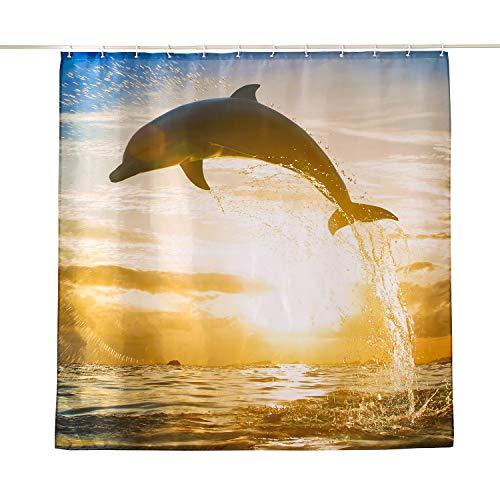 ENCOFT Tenda della Doccia Antimuffa Impermeabile Tessuto in Poliestere Tenda per Vasca da Bagno con 12 Ganci, Stampa Delfino di Sera Marrone 240x200cm
