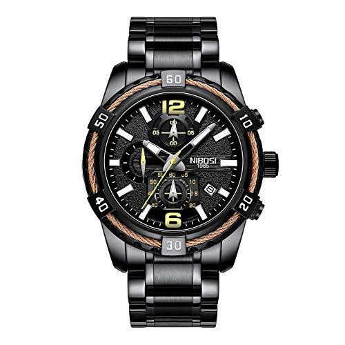 NIBOSI Herren Chronograph Quarz Uhr mit Edelstahl Armband Schwarz Armbanduhren für Männer Kalender Datum Uhr