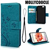 iPhone 6 Case, iPhone 6S Wallet Case (Not for Plus), MOLLYCOOCLE Blue Butterfly...