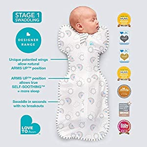 Love To Dream Swaddle UP, Rainbow, Small, 8-13 lbs., Dramatically Better Sleep, Allow Baby to Sleep in Their Preferred arms up Position for self-Soothing, snug fit Calms Startle Reflex
