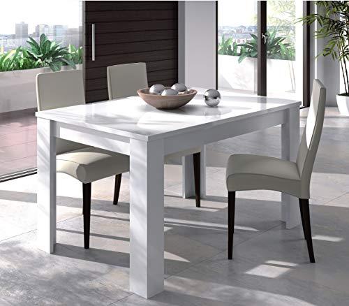 Dmora Tavolo per Sala da Pranzo Estensibile, Colore Bianco Lucido, cm 140 x 90 x h78