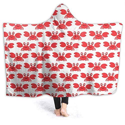 AEMAPE Manta con Capucha de cangrejos Lindos Mantas Personalizadas Manta de Tiro de Lana para niños, Adultos 50x40in