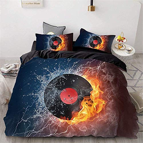 BH-JJSMGS Duvet cover, double single king bed music printed quilt cover, microfiber soft and comfortable, suitable for adults, boys and girls, black plate Double-200x200cm