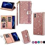 Hancda Brieftasche Hülle für iPhone XR, Handyhülle Handytasche Glitzer Leder Tasche Flip Case Geldbörse Cover mit Reißverschluss Kartenfach Magnet Klapphülle für iPhone XR,Rose Gold