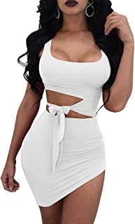 Womens Sexy Bodycon Cut Out Sleeveless Outfit Mini Club Tank Dress