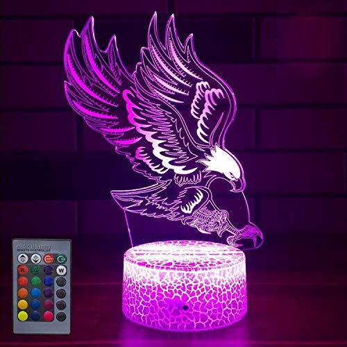 Creativo 3D Águila Luz de Noche Control Remoto 16 Colores que Cambian USB Poder Touch Switch Ilusión óptica Decor Lámpara LED Mesa Lámpara Niños Juguetes Cumpleaños Navidad Regalo